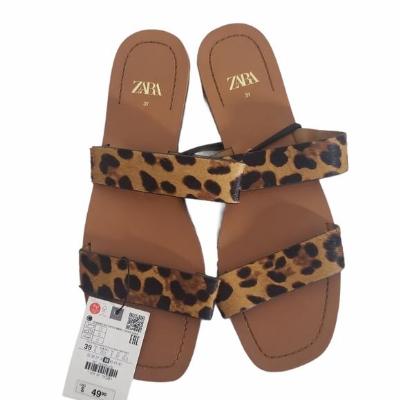 NWT ZARA Leopard Print Flat Sandals Size 8
